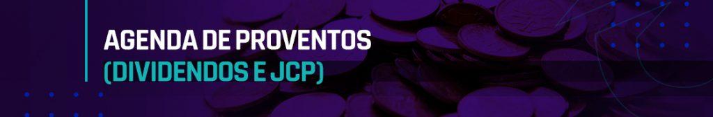 agenda de proventos dividendos e jcp